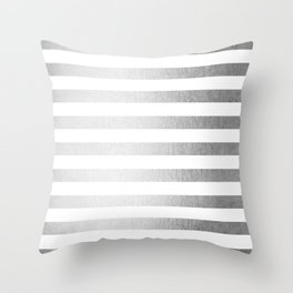 Simply Striped Moonlight Silver Throw Pillow