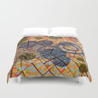 milan Duvet Covers featuring bombing Milan by Federico Cortese