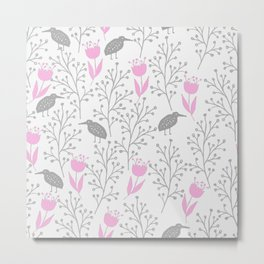 Kiwi Garden - Pink and Gray Metal Print