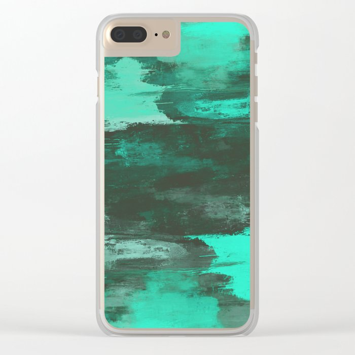 Chill Factor - Abstract cyan blue painting Clear iPhone Case