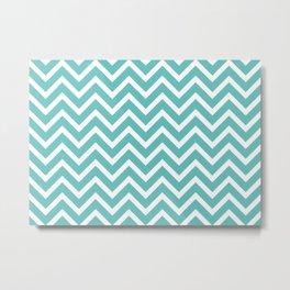 mint green, blue zig zag pattern design Metal Print