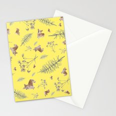 yellow corgi holidays and twigs Stationery Cards