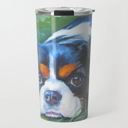 Beautiful Tricolour Cavalier King Charles Spaniel Dog Painting by L.A.Shepard Travel Mug
