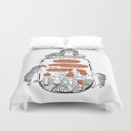 Hedgehog Amanita Mushroom Duvet Cover