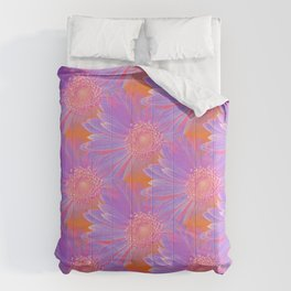 Gerbera Flower Pattern in Purple And Orange Comforters