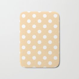 Polka Dots - White on Sunset Orange Bath Mat