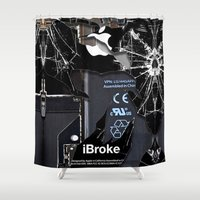 iphone 5 case Shower Curtains featuring Broken, rupture, damaged, cracked black apple iPhone 4 5 5s 5c, ipad, pillow case and tshirt by Three Second