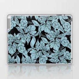 Modern baby blue black hand drawn floral Laptop & iPad Skin