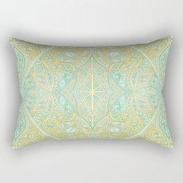 Mint & Gold Effect Diamond Doodle Pattern Rectangular Pillow