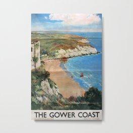 The Gower Coast Vintage Travel Poster Metal Print