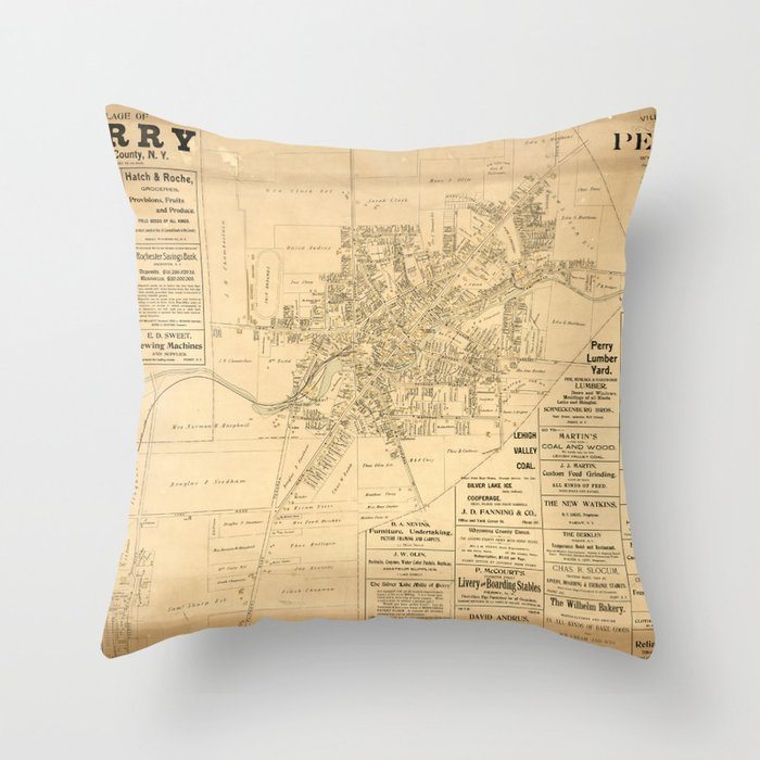 Village of Perry, Wyoming County, New York (1902) Throw Pillow