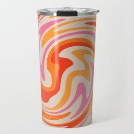 70s Retro Swirl Color Abstract Travel Mug