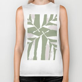 Geometric White on olive green 3 autumn fall tropic pattern palm leaves society6 Biker Tank