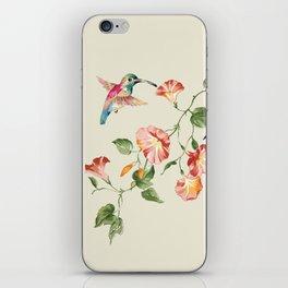 hummingbirds & morning glories iPhone Skin