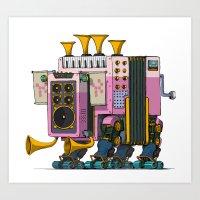 Robot-Parade-THREE Art Print
