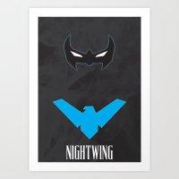 nightwing Art Prints featuring Nightwing by Gari Smith