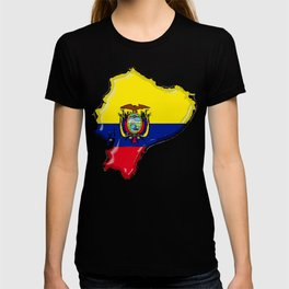 Ecuador Map with Ecuadorian Flag T-shirt