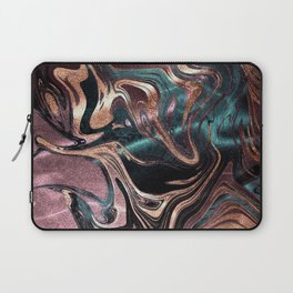 Metallic Rose Gold Marble Swirl Laptop Sleeve