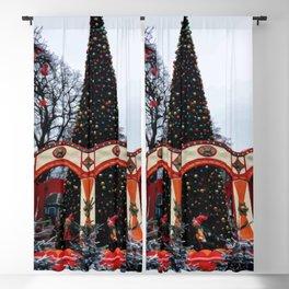 Digital Illustration of a Christmas Tree in the Park in Copenhagen, Denmark Blackout Curtain