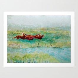 Wild Horse Band by Creek watercolor by CheyAnne Sexton Art Print