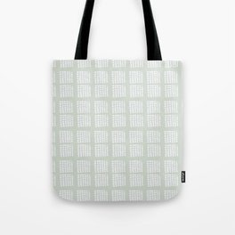 Hand drawn block pattern in pale moss green and white Tote Bag