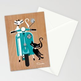 Scooter-a-go-go-Cats Stationery Cards