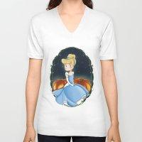 cinderella V-neck T-shirts featuring Cinderella by Adele Manuti