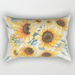 Loose Watercolor Sunflowers Rectangular Pillow