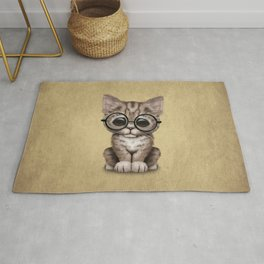 Cute Brown Tabby Kitten Wearing Eye Glasses Rug