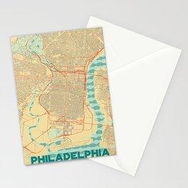 Philadelphia Map Retro Stationery Cards