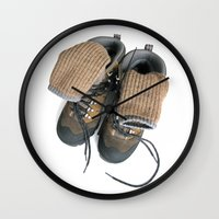 hiking Wall Clocks featuring Hiking Boots by Ann Horn