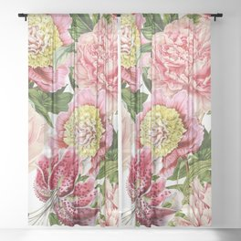 Vintage & Shabby Chic Floral Peony & Lily Flowers Watercolor Pattern Sheer Curtain