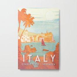 Italy, Cinque Terre Vintage Travel Poster Metal Print