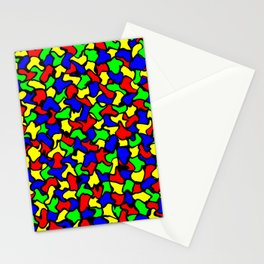 Red Green and Blue Wobble Tiles Stationery Cards