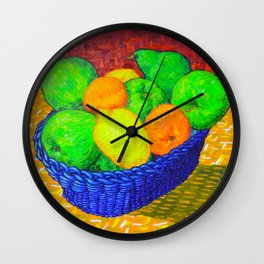 Still Life with Apples, Lemons, Oranges, and Pear Wall Clock