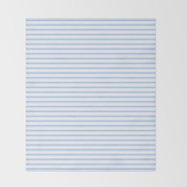 Mattress Ticking Narrow Horizontal Stripe in Pale Blue and White Throw Blanket