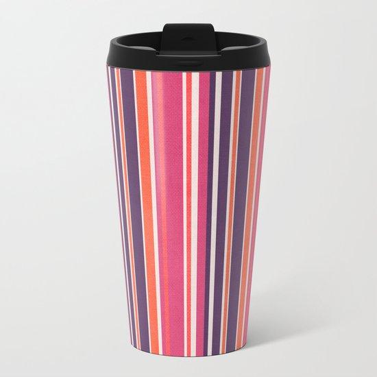 Happy Vertical LInes Pink Version Metal Travel Mug