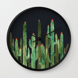 Cactus 4 at night Wall Clock