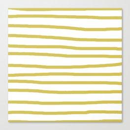 Simply Drawn Stripes Mod Yellow on White Canvas Print
