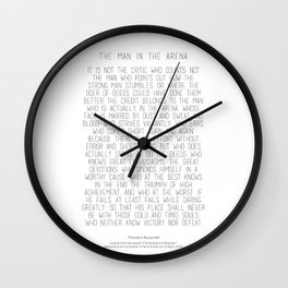 The Man In The Arena by Theodore Roosevelt 2 #minimalism Wall Clock