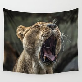Yawning Female Lion Wall Tapestry