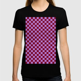 Lavender Violet and Burgundy Red Checkerboard T-shirt
