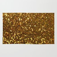 gold glitter Area & Throw Rugs featuring GOLD GLITTER by I Love Decor