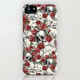 Skulls and Roses or Les Fleurs du Mal iPhone Case