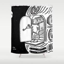 Space Monday/Lunes en en el espacio. Shower Curtain