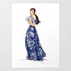 Vintage Hawaiian Print Girl Fashion Illustration  Art Print