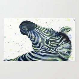 Zebra Watercolor Blue Green Animal Rug