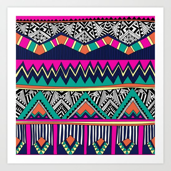 Multicolor tribal background with doodle elements Art Print