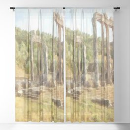 Fallen Ruins of Euromos Watercolor Sheer Curtain