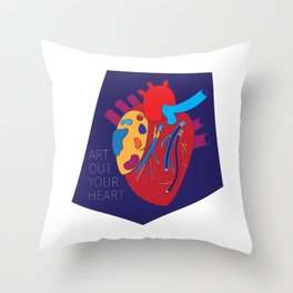 Art Out Your Colourful Heart Throw Pillow
